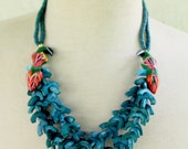 Parrot Necklace Blue Tropical Tucan Beaded Statement Bird