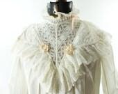 Edwardian Nightgown, Antique Nightgown, White Lace Nighty, Vintage 1900s Nighty, White Cotton Nighty, Antique Sleepwear, m, l