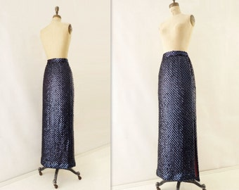 Vintage Sequin Skirt Midnight Blue Maxi 1980s Maxi Skirt Sequin Maxi Skirt Sparkly Party Skirt Sequin Party Skirt Dark Blue Sequins medium