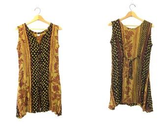 Vintage Rayon BOHO Ethnic Vest Shirt Long Tunic Tank Top dress Blouse Brown Black Mini SunDress Star Print Womens size Medium Large Dell's