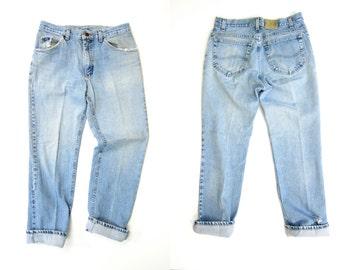 LEE 80s High Waist Blue Jeans Worn In DISTRESSED Denim Straight Leg Boyfriend Jeans Vintage Farmers Mechanics Hipster Grunge Womens Medium