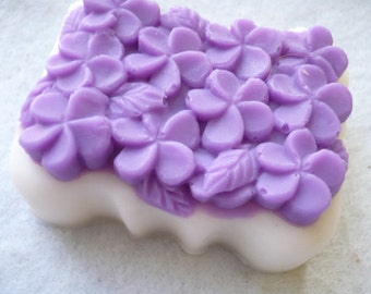 Three Hand Made Soaps Shea Butter Glycerin Pretty Flower Topped Bar Soap All Natural Vegan Ingredients Add Color, Scent, and Raw Ingredients