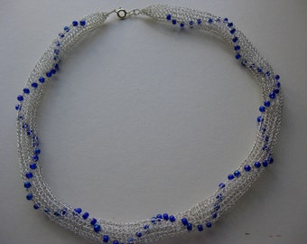 Necklace / choker  - Silver and blue bead statement necklace