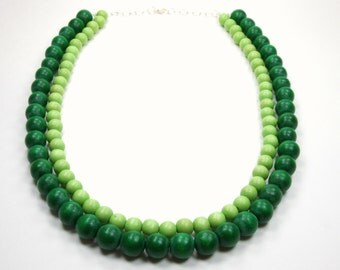 Spring Green Collection - Green Beaded Necklace - Shades Of Green Bright And Dark - Multi Strand Layer Necklace