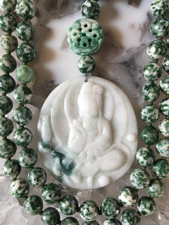 Green Spot Tree Agate and Jade Mala/Prayer Beads