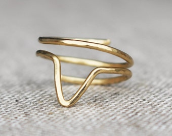 Brass Chevron Ring, Wire Jewelry