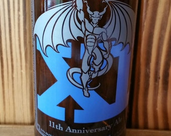 YAVA Glass - Upcycled Stone 11th Anniversary Ale Medium 16 oz Beer Bottle Glass