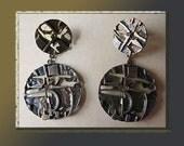 ROUGH Stuff-Brutalist Textured Large Dangle Earrings,Bronzed Metal,Jorma Laine Style,Vintage Jewelry,Women