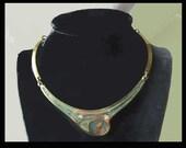 Beneath the SEA-Aegean Brass Resin/Ceramic Inset Choker Necklace,Greek Hippie Necklace,Vintage Jewelry,Women