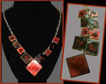Enamel SQUARED-Mid Century Red/Black Enamel Squares Necklace,Vintage Jewelry,Women