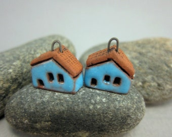 READY TO SHIP...Turquoise Blue Miniature House Charms in Terracotta...Set of 2