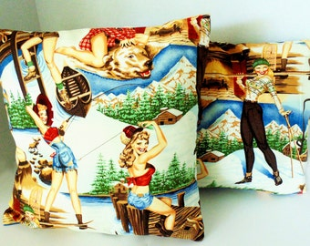 Pillow covers, Retro Style pillow covers, Pin Up girl pillow covers.