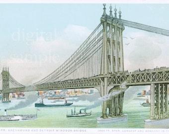 Detroit Windsor Bridge, Detroit Art, Ambassador Bridge, Nautical Wall Art, Vintage Wall Art, Detroit Publishing Company, Windsor Canada