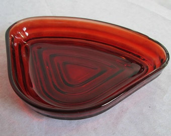 Vintage Anchor Hocking Manhattan Lazy Susan Insert Dishes Ruby Horizontal Ribbed