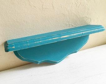 Curvy Distressed Wood Wall Shelf Dark Teal Turquoise Blue Aqua Shabby Chic