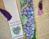 Laminated Red Wine Grapes Photo Bookmark w/ Grape Lampwork Beads