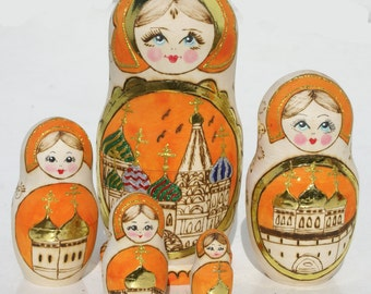 Orange Matryoshka Babushka Russian Wooden Nesting Dolls with Image of Churches Cheap Russian Nesting Dolls Where To Buy Matryoshka Dolls 5pc