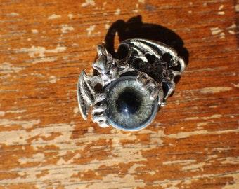 Sterling Silver Gargoyle Pendant with Blue Glass Prosthetic Eye
