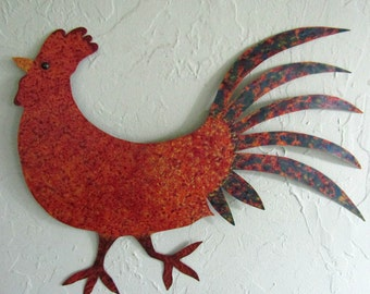 Metal Wall Art Rooster Sculpture Recycled Metal Folk Art Kitchen Dining Room Wall Chicken Decor Indoor Outdoor 14 x 18