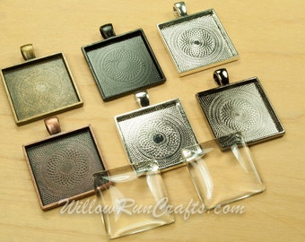 15 pcs 25mm Square Pendant Trays 1 inch With 15 Glass Cabs in Ant Bronze, Black, Ant Silver, Gun Metal, Ant Copper and Silver, Blank Setting