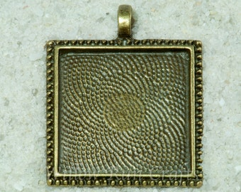 10 pcs 25mm Square Pendant Trays  Antique Brass Square Bezel Tray with Decorative Edge(19-12-270) Blank Bezel Cabochon Setting