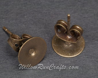 100 Antique Bronze Plated Earring Posts with Studs 8mm size pad  (07-26-530)