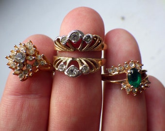 Lot of Vintage Rings - Three - Rhinestone and Green Emerald-like Stone