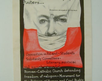 Vintage 1970s Political Poland Solidarity Social Defence Committee Socialism Socialist Poster 11x19 Inches