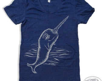 Womens NARWHAL  t-shirt american apparel S M L XL (16 Colors Available)