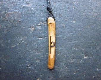 Rare Natural Wood Wand Pendant - Honeysuckle/Uilleand - for Increased Psychic Awareness.