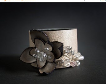 40% OFF SALE Off white elegant leather and beads floral cuff bracelet