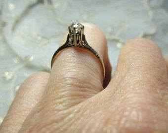 Danusharose  Vintage  Victorian HighSet Champagne Lovely OOAK .26 carat Old Cut Diamond 14K Gold Ring Size 6.25  plus Fine Jewelry Report