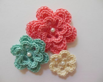 Crocheted Flowers - Coral, Aqua and Cream - Cotton - Crocheted Embellishment - Crocheted Applique
