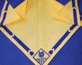 Vintage Cub Scout Yellow Neckerchief, Triangle, 1970s Era