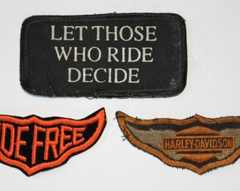 Vintage Harley Davidson Patches, 3 Different,  Old School from 1960's