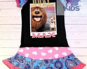 Duke and Max a dress made out of authentic Secret life of pets tshirt cool funky recycled upcycled  pieced  size 9