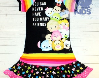 You can never have too many friends - a dress made out of authentic TSUM TSUM tshirt cool funky upcycled pieced size 9 also in other sizes
