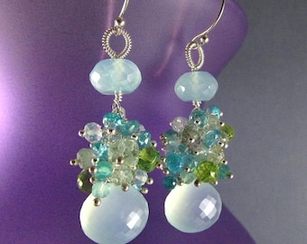 25% Off Summer Sale Aqua Chalcedony Cluster Mixed Gemstone Sterling Silver Earrings
