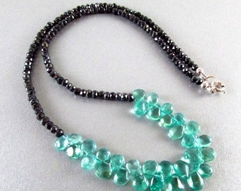 25% Off Summer Sale Apatite and Spinel Gemstone Necklace, Aqua Necklace, Black and Blue Necklace