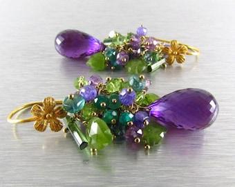 End Of Summer Sale Purple and Green Gemstone Cluster Gold Filled Earrings - Amethyst, Peridot, Vesuvianite, Tourmaline