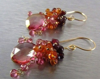 End Of Summer Sale Pink Quartz Cluster Gold Filled Earrings With Pink Quartz, Rhodolite Garnet, Orange Quartz