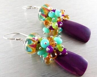 20 % Off Purple Agate With Peruvian Opal, Citrine, Jade, Quartz and Lampwork Bead Cluster Dangle Earrings