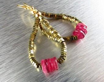 Pink Sapphire Hoop Earrings,Sapphire and Hematite Earrings Hematite