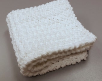 Hand Knit Dishcloth, White Cotton