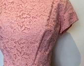 passementerie pink dress   vintage 1950s dress   lace 50s cocktail dress