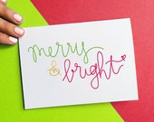 christmas greeting card merry and bright holiday card green red gold script quote stocking stuffer black friday sale cyber monday sale