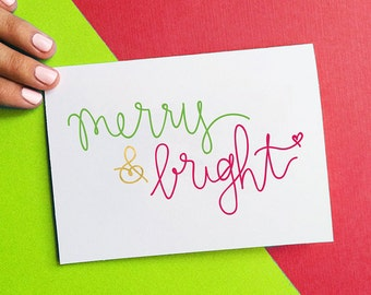 christmas card, merry and bright holiday card, handlettered typography, green red gold, stocking stuffer, letterhappy