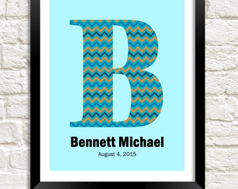 Personalized Nursery Wall Art, Baby Boy Nursery, Nursery Decor, Personalized Baby, Kids Wall Art, Nursery Monogram, Boy Room Decor