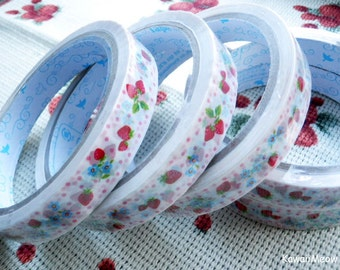 Kawaii Deco Tape - Strawberry - 1 PC / 1.5cm wide x 25m (0.7in x 27 yards)
