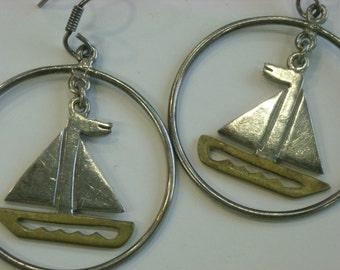 sterling silver sailboat earrings  ( W 95 )